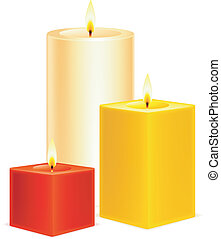 Candles. - Set of 3 color candles.