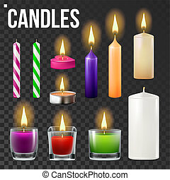Candles Set Vector. Different Types Of Paraffin, Wax Burning Candles. Classic, Glass Jar, For Cake. Party Candle Light Icon. Transparent Background. Isolated Realistic Illustration