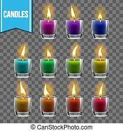 Candles Set Vector. Glass Jar. Christmas Lighter. Wax Design. Romantic Object. Transparent Background. Isolated Realistic Illustration