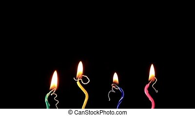 Candles on a Birthday cake burning down, time lapse,...