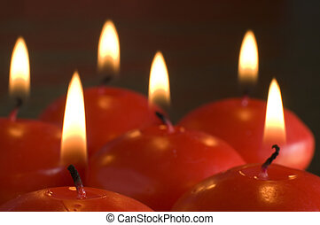 candles - red candles assorted close up shoot