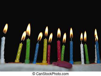 Candles on a birthday cake on a dark background