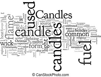 Candles text background wordcloud concept