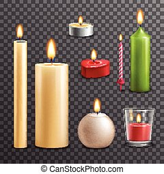 Candles transparent set