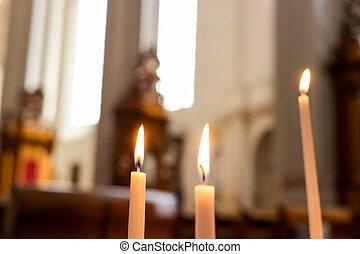 candles., tres, abrasador