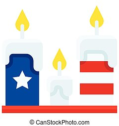 Candles vector, United state independence day related icon