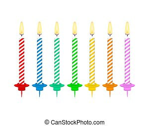 Candles with burning flames of wax paraffin. Birthday cake candles. Vector stock illustration.