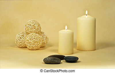 candles with stones and decoration