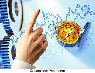 candlestick, 图表, 图表, 手, 同时,, 指南针