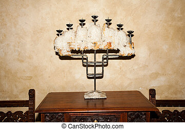 Candlestick against the wall