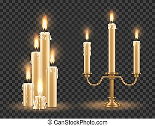 Candlestick and burning candles set, vector illustration isolated on transparent background.