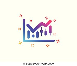 Candlestick chart icon. Financial graph. Vector