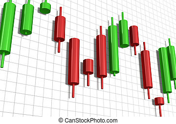 candlestick chart isolated over white