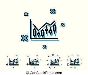 Candlestick chart line icon. Financial graph.
