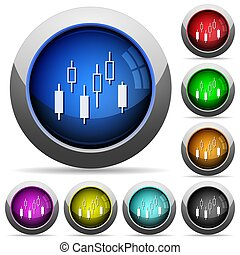 Candlestick chart round glossy buttons