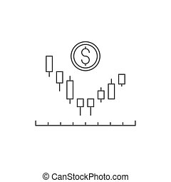 Candlestick chart vector icon symbol trading isolated on white background