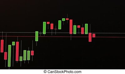 Candlestick graph of cryptocurrency or stock with moving indicator pointer.Bitcoin exchange listing