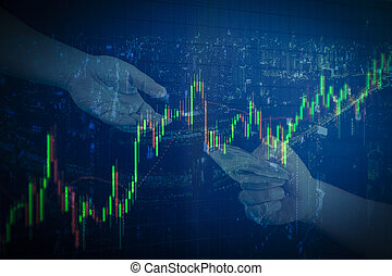 candlestick graph office building background , Business and financial concept