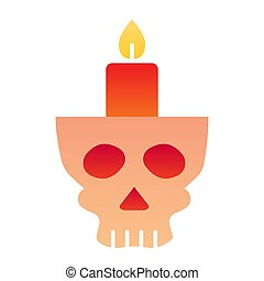 Candlestick in head flat icon. Candle in scary scull. Halloween party vector design concept, gradient style pictogram on white background.