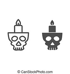 Candlestick in head line and solid icon. Candle in scary scull. Halloween party vector design concept, outline style pictogram on white background.