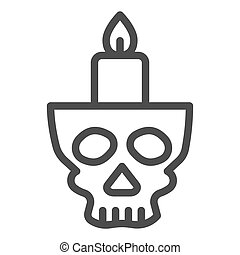 Candlestick in head line icon. Candle in scary scull. Halloween party vector design concept, outline style pictogram on white background.