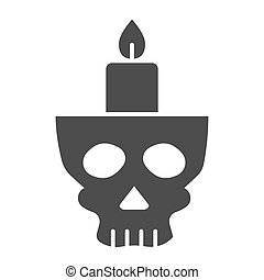 Candlestick in head solid icon. Candle in scary scull. Halloween party vector design concept, glyph style pictogram on white background.