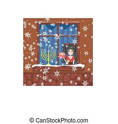 candlestick in window - hanukkah