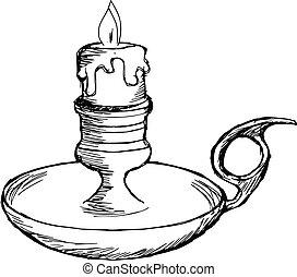 candlestick mantel - hand drawn, cartoon, sketch...