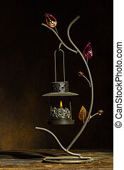 Candlestick - Metal candlestick in the form of flowers with...