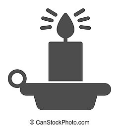 Candlestick with burning candles solid icon, halloween concept, candelabrum sign on white background, Burning candle in candlestick icon in glyph style for mobile concept. Vector graphics.