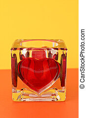 candlestick with red heart shape
