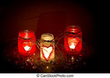 candlesticks, drie, valentine