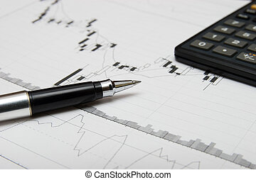 candlesticks, mapa, caneta, calculadora
