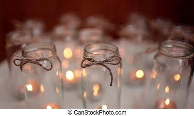 candlesticks with candles on white background standing