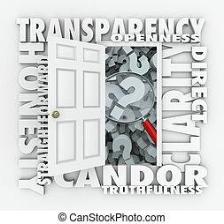 candor, ajtó, straightforward, transzparens, nyíltság, világosság