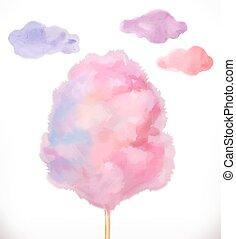 candy., イラスト, clouds., 水彩画, ベクトル, 砂糖, 綿