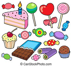 Candy and cakes collection - isolated illustration.
