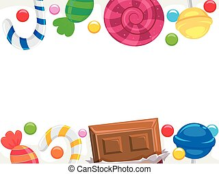 Candy and Chocolate Borders - Vector Illustration of Candy...