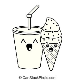 Candy And Desserts Kawaii Cartoon In Black And White Candy