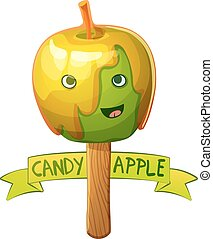 Candy apple character. Cartoon vector illustration