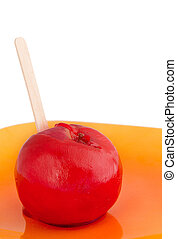 candy apple on a plate