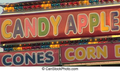 Candy Apple Stand - Candy apple snack stand at the carnival,...