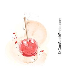 Candy apple watercolour