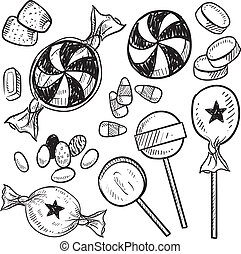 Candy assortment sketch - Doodle style hard candy set sketch...