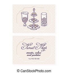 Candy bar business card template for pastry shop. Doodle...