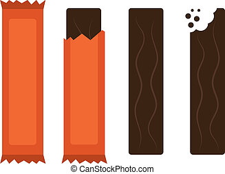 Candy Bar - Isolated chocolate candy bars with and without...