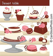 Candy bar or dessert buffet table. Candy and dessert cake or...