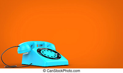 Candy blue vintage telephone - 3D Illustration