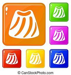 Candy bonbon icons set color