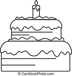 Candy cake icon, outline style
